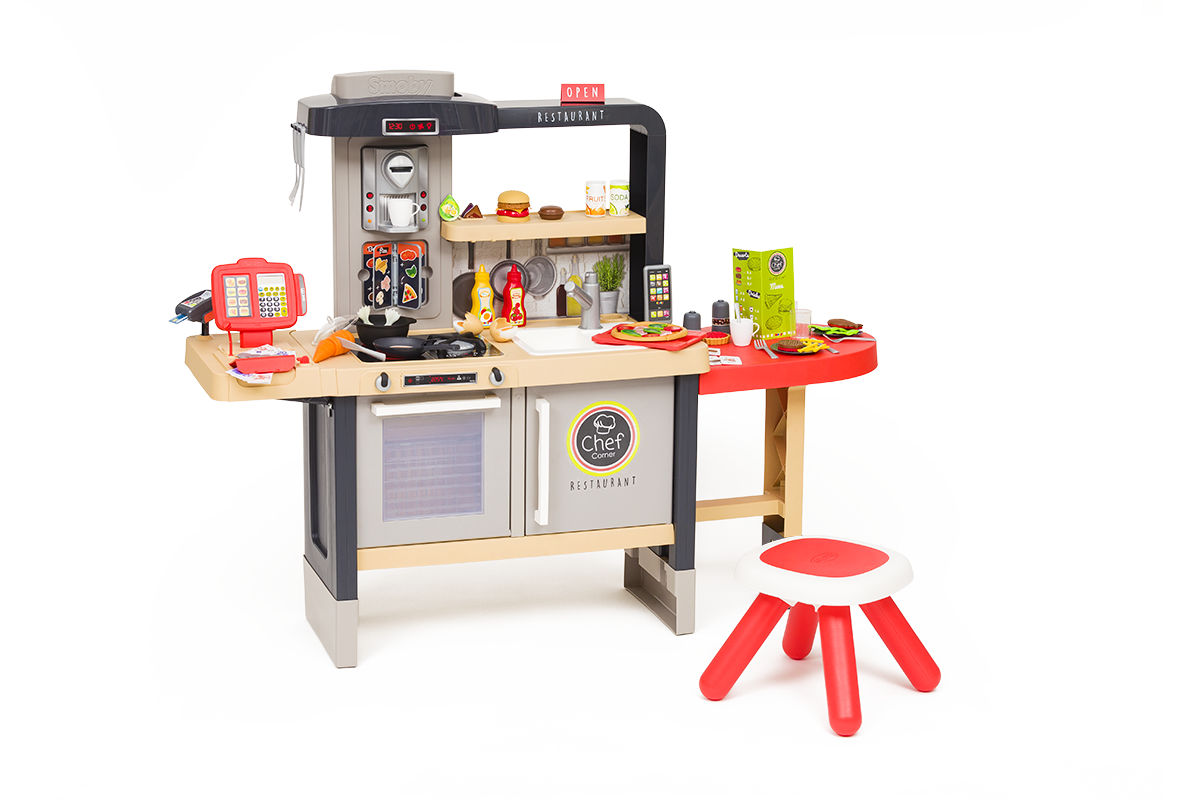 Étterem elektronikus konyhácskával Chef Corner Restaurant Smoby kétoldalú folyó vízzel és szakácsspecialitásokkal magasságilag állítható 70 kiegészítő