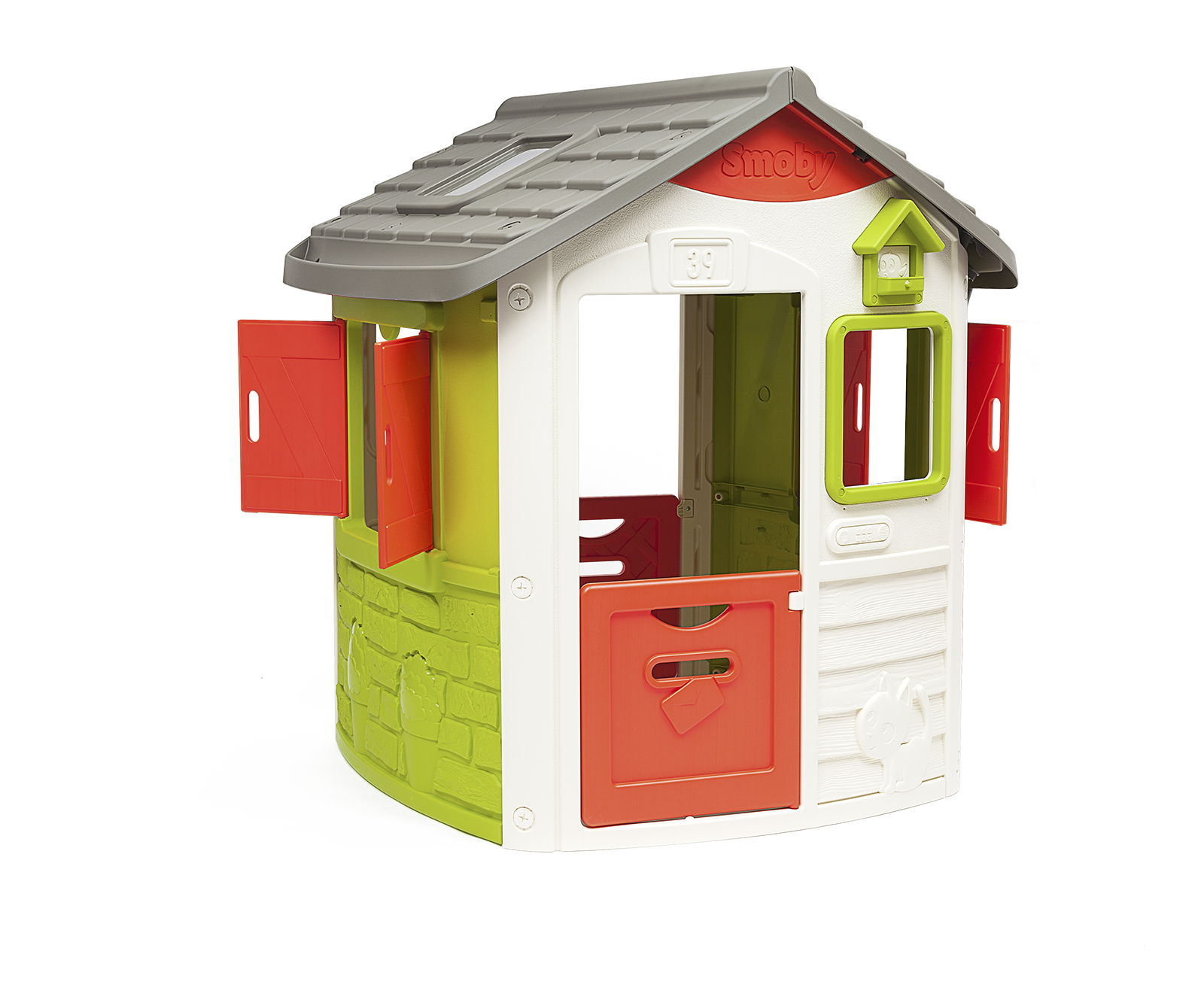 Házikó Neo Jura Lodge Smoby 2 ajtós 2 zsalugáteres ablakkal és madáretetővel 2 évtől